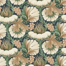 Rasch ZOYA 431810 Botanikus méltóságteljes virágminta textilstruktúra éjkék/fekete bézs zöld barna tapéta