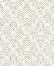 Rasch Modern Art 433937  grafikus díszítőminta krémfehér ezüst tapéta