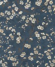 Rasch Denzo II 456738 Natur virágos varázslatos cseresznyevirágzás textilstruktúra sötétkék barna krém bézs fényes arany kihúzások tapéta