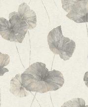 Rasch Andy Wand 458213 Natur Tavirózsa levelek vakolt fal háttér krémfehér szürke galambkék ezüstös csillogás tapéta