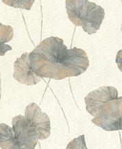 Rasch Andy Wand 458220 Natur Tavirózsa levelek vakolt fal háttér krémfehér szürke benzinkék aranyszínű csillogás tapéta