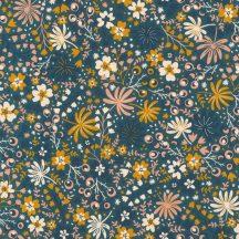 Rasch ZOYA 460117 Botanikus varázslatos virágminta azúrkék mangósárga puderrózsaszín fehér éjkék tapéta
