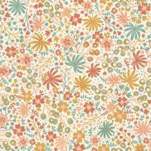 Rasch ZOYA 460124 Botanikus varázslatos virágminta fehér currysárga puderrózsaszín lazacpiros mentazöld tapéta