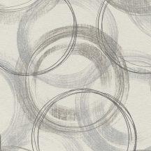 Rasch Alla Prima 467796 Vintage grafikus körök fehér szürke árnyalatok antracit ezüst tapéta