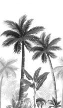 Marburg Smart Art Easy 47204 Natur Botanikus trópusi pálmafák fehér szürke ezüst fekete falpanel