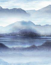 Marburg Smart Art Easy 47222 Natur Hipnotikus hatású hegyvidéki tó kék árnyalatok fehér falpanel