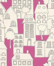 Rasch Kids & Teens II, 503463  Gyerekszobai a város házai világító ablakokkal fehér pink fekete tapéta