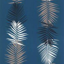 Lutece California Nostalgie 51173111 FEUILLE PALME BLEU Natur Trópusi pálmalevelek panelszerű megjelenés kék/benzinkék fehér bézs fekete tapéta