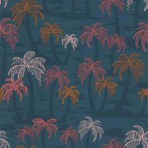 Lutece California Nostalgie 51200901 PALMIER FOND BLEU Natur trópusi stilizált pálmafák kék árnyalatok bézsarany korall aranysárga tapéta