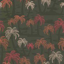 Lutece California Nostalgie 51200904 PALMIER FOND KHAKI Natur trópusi stilizált pálmafák khakizöld korall ciklámen krém tapéta