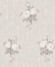 Rasch Souvenir 516104 Romantikus virágos Shabby-Look durva felületen pünkösdi rózsacsokrok krém bézs szürkésbarna