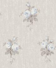 Rasch Souvenir 516111 Virágos pünkösdi rózsacsokrok durva vakolaton krémfehér bézs szürke kék tapéta