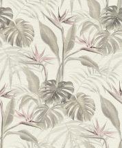 Rasch mandalay 529005 trópusi növények papagájvirág fehér dzürkésbézs rózsaszín tapéta