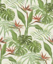 Rasch mandalay 529029 trópusi növények papagájvirág fehér világító zöld korallszín tapéta