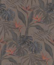 Rasch mandalay 529043 trópusi növények papagájvirág sötétbarna és szürke korallszín tapéta