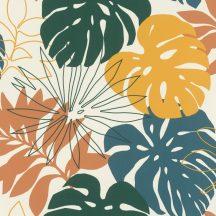 Rasch Denzo II 529302 Natur Grafikus túlméretes levelek fehér okkersárga nádzöld petrol lazacvörös tapéta
