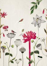 Rasch Most Fabulous 532029 természeti kép virágok madarak fehér szines falpanel