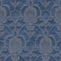 Rasch Trianon XII, 532159  klasszikus királyi díszítőminta bársonyos megjelenés hímzett díszek kék szürkéskék bézsarany tapéta