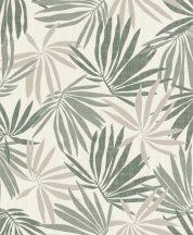 Rasch Yucatan 535402 Natur trópusi pálmalevelek fehér zöld árnyalatok csillogó bézs tapéta