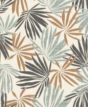 Rasch Yucatan 535433 Natur trópusi pálmalevelek krémfehér mentazöld fekete csillogó rézszín tapéta