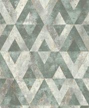 Rasch Yucatan 535501 Geometrikus Natur antik kő alap rombusz /gyémánt/ minta zöld és szürke árnyalatok finom arany tapéta