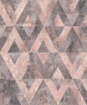 Rasch Yucatan 535532  Geometrikus Natur antik kő alap rombusz /gyémánt/ minta szürke és rózsaszín árnyalatok finom arany tapéta
