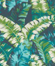 Rasch Yucatan 535655  Natur nagyformátumú trópusi levelek 3D zöld petrolszín sötétkék fehér tapéta