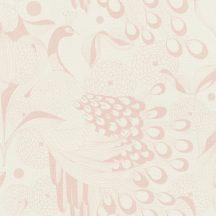 Rasch Club Botanique 537505 Natur stilizált pávák pávatollak krémfehér puder rózsaszín tapéta