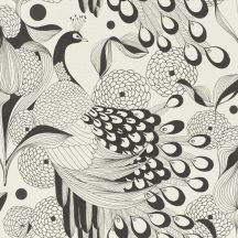 Rasch Club Botanique 537529 Natur stilizált pávák pávatollak fehér fekete tapéta