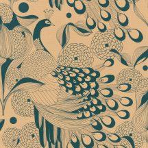 Rasch Club Botanique 537536  Natur stilizált pávák pávatollak atany sötét petrol tapéta