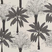 """Natur """"skandináv"""" trópusi pálmafák világos homokszín sötétszürke fehér fekete tapéta"""