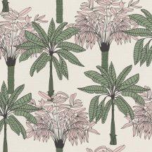 """Natur """"skandináv"""" trópusi pálmafák krémszín puder rózsaszín zöld fekete tapéta"""