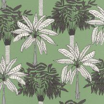 """Natur """"skandináv"""" trópusi pálmafák zöld sötétszürke fehér fekete tapéta"""
