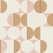 Geometrikus retro körökkel kialakított díszítőminta puder rózsaszín világos arany krémszín tapéta