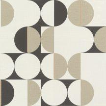 Geometrikus retro körökkel kialakított díszítőminta fehér világos/bézs arany antracit tapéta