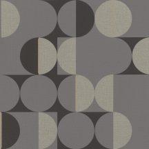 Geometrikus retro körökkel kialakított díszítőminta fekete szürke ezüst arany tapéta