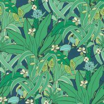 Natur pálmalevelek trópusi virágok zöld sötétkék világos petrol krémszín tapéta