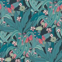 Natur pálmalevelek trópusi virágok kék sötétkék rózsaszín ciklámen tapéta