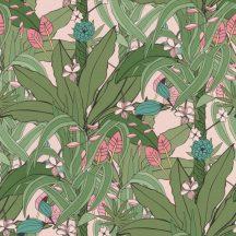 Natur pálmalevelek trópusi virágok zöld rózsaszín puder rózsaszín világos petrol tapéta