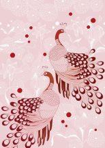 539141 Natur stilizált pávák tollazata egzotikus virágok rózsaszín fehér bordópiros f
