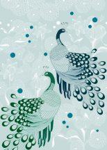 Natur stilizált pávák tollazata egzotikus virágok világos kékeszöld kék és zöld árnyalatok falpanel