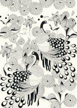 Club Botanique 539165  Natur stilizált pávák tollazata egzotikus virágok fehér fekete falpanel
