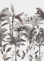 Natur magas pálmák banánfák gyümölcsfürttel egzotikus virágok fehér szürke fekete falpanel