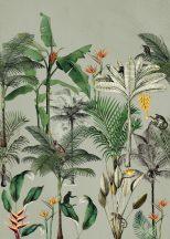 Natur magas pálmák banánfák gyümölcsfürttel egzotikus virágok buja zöld szines falpanel