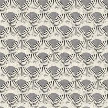 Rasch Amazing 539318 Dinamikus grafikai tervezés Japán művészet stilizált legyező motívum fehér kavicsszürke antracit tapéta