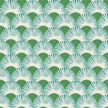 Rasch Amazing 539332 Dinamikus grafikai tervezés Japán művészet stilizált legyező motívum fehér türkiz levélzöld tapéta