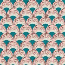 Rasch Amazing 539349 Dinamikus grafikai tervezés Japán művészet stilizált legyező motívum fehér tcseresznyepiros sötét vízzöld tapéta