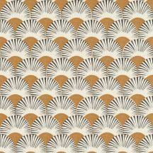 Rasch Amazing 539356 Dinamikus grafikai tervezés Japán művészet stilizált legyező motívum világos konyakszín antracit fehér tapéta