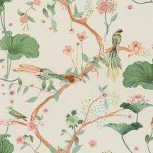 Rasch Amazing 539431 Natur Japán természeti motívum finoman rajzolt virágok egzotikus madarak törtfehér rosé konyakszín zöld tapéta
