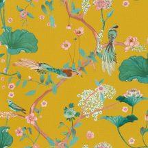 Rasch Amazing 539448 Natur Japán természeti motívum finoman rajzolt virágok egzotikus madarak mély sárga rózsaszín zöld barna tapéta
